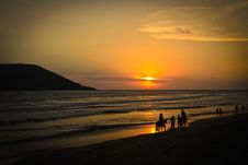 Free Sunset At The Beach And Horse Riding Stock Photography - 33311852