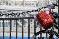 Free Basket And Flowers On Old Bicycle Stock Photography - 33318352