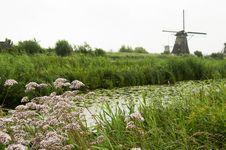 Windmill At Kinderdijk, Netherlands Stock Photo