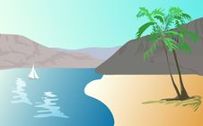 Free Illustration  Of Tropical Landscape -    Beach Wit Stock Photography - 33328802