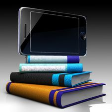 Digital Tablet And Books Stock Photo