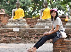 Free Beautiful Girl And Buddha At Wat Yai Chai Mongkol Temple. Ayutth Stock Photos - 33330843