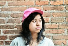 Free Pretentious Girl Over Brick Wall Stock Image - 33330951