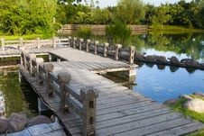 Wooden Footbridge By The Lake Royalty Free Stock Photography