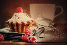 Free Fruitcake Decorated With Raspberry And Icing Sugar At The Wooden Stock Photos - 33331973
