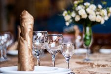 Crystal Table Setting Royalty Free Stock Photo