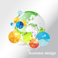 Free Globe Background With Pie Charts. Royalty Free Stock Images - 33339349