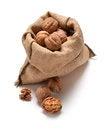 Free Walnuts And A Bag Royalty Free Stock Photos - 33343228