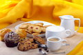 Free Breakfast With Muffins, Cookies And Milk And Coffee Stock Photography - 33349772