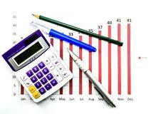 Bar Graph Data And Calculator Stock Photo