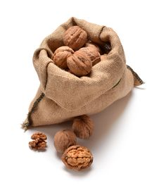 Free Walnuts And A Bag Royalty Free Stock Photos - 33343228