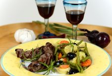 Free Italian Plate Of Grilled Vegetables With Lamb Royalty Free Stock Image - 33343626