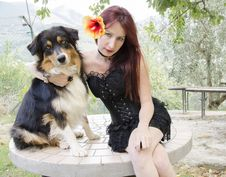 Free Gothic Woman With Australian Shepherd Dog Royalty Free Stock Photos - 33356618