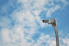 CCTV Camera High View With Blue Sky Royalty Free Stock Image