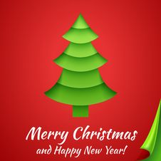 Merry Christmas Greeting Card With Tree. Vector Royalty Free Stock Photo