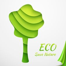 Free Applique Tree On Sheets Of Green Papers With Stock Image - 33359531