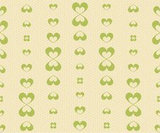 Free Retro Seamless Pattern With Green Hearts Stock Photography - 33361462
