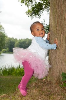Free African Little Girl Is Holding The Tree Stock Image - 33361711