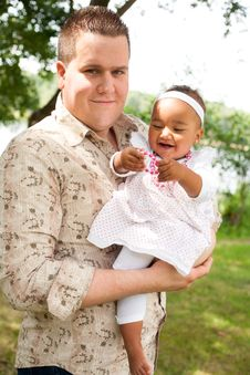Free Caucasian Father And His African Girl Stock Photography - 33361792