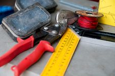 Free Cutters And Angular Ruler,a Spool Stock Images - 33366374