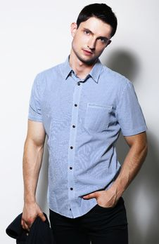 Free Successful Handsome Stylish Young Man In Blue Shirt Standing Stock Photo - 33367760