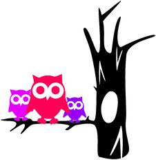 Free Contour Tree With Owls Royalty Free Stock Image - 33375786