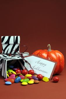 Free Halloween Trick Or Treat Black And White Zebra Candy Boxes - Vertical. Royalty Free Stock Photography - 33375797