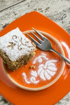 Free Pumpkin Cake On Orange Plate And Fork Royalty Free Stock Photo - 33375805