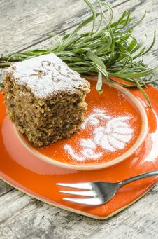 Free Pumpkin Cake On Orange Plate With Lavender Lives Royalty Free Stock Photo - 33375875