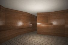 Futuristic Interior With Wooden Wall And Plank Wood Floor