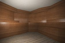 Interior With Wooden Veneer Wall  And Plank Wood Floor