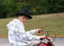 Free Boy Sitting On Dirtbike Royalty Free Stock Photos - 3342128