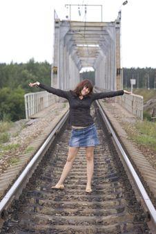 Free Girl On The Railway Stock Photography - 3342142
