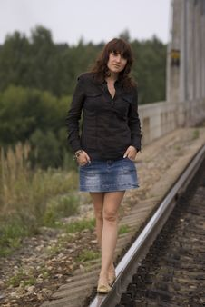 Free Girl On The Railway Royalty Free Stock Image - 3342146