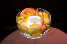 Free Luxury Votive Candle Surrounded By Rose Petals Royalty Free Stock Image - 3343626