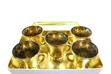 Free Five Gilt Cups Royalty Free Stock Photos - 3343838