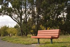 Red Bench On Path Royalty Free Stock Photo