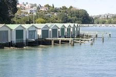 Boat Sheds On The Water Front Stock Photography