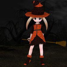 Little Hallowen Witch 03 Stock Photo