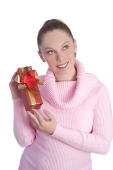 Free Girl With Gift Stock Photography - 3347892