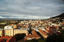 Cloudy Cape Town In Sunbeams Royalty Free Stock Photography