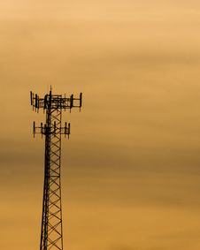 Free Tall Cellphone Tower At Sunset Stock Photos - 3348573
