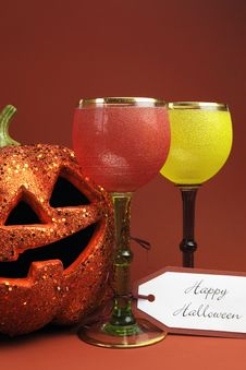 Halloween Drinks With Vintage Gothic Style Goblets - Vertical. Stock Images