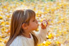 Free Little Girl Blowing Soap Bubbles Royalty Free Stock Photography - 33406517