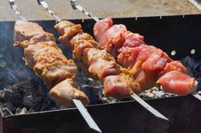 Free Roasted Kebabs On The Grill Royalty Free Stock Photos - 33408458