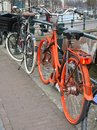 Free Orange Bike At Keizersgracht, Amsterdam, Holland Royalty Free Stock Photography - 33419827