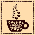 Free Cup Of Coffee With Hearts And Beans Royalty Free Stock Photos - 33421598