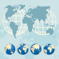 Map Of The World And Globes Stock Photos