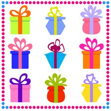 Free Set Of Colorful Gift Boxes Stock Photography - 33421592