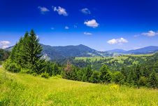 Free Mountain View From Green Meadow In Summer Stock Image - 33423081